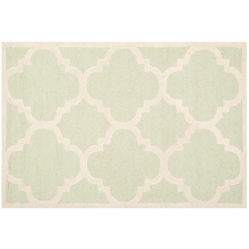 Carly Rug, Light Green/Ivory