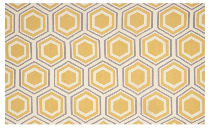 Miriam Dhurrie, Ivory/Yellow