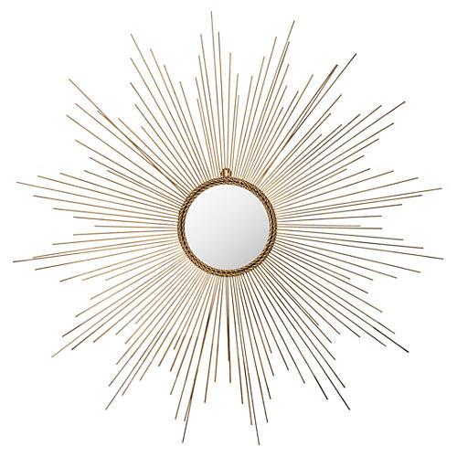 "Crawford 41"" Sunburst Wall Mirror, Gold"