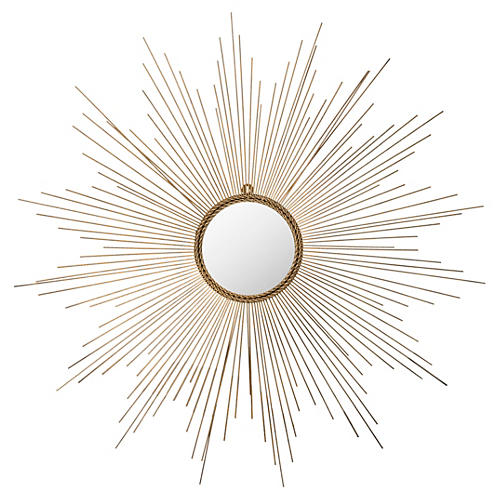 "Crawford 41"" Sunburst Wall Mirror, Gold"
