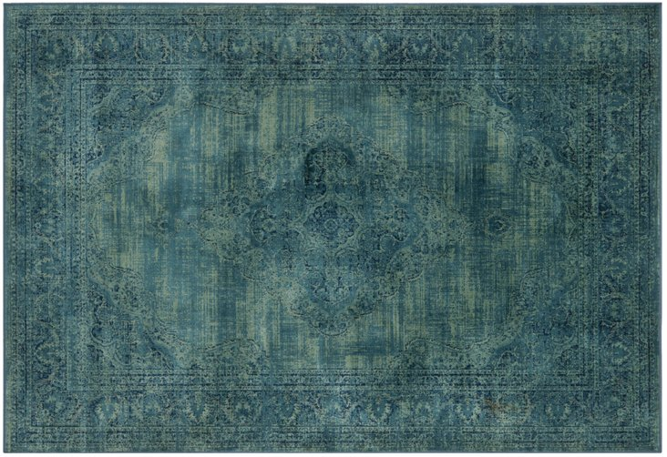 Medlin Flat-Weave Rug, Turquoise/Multi