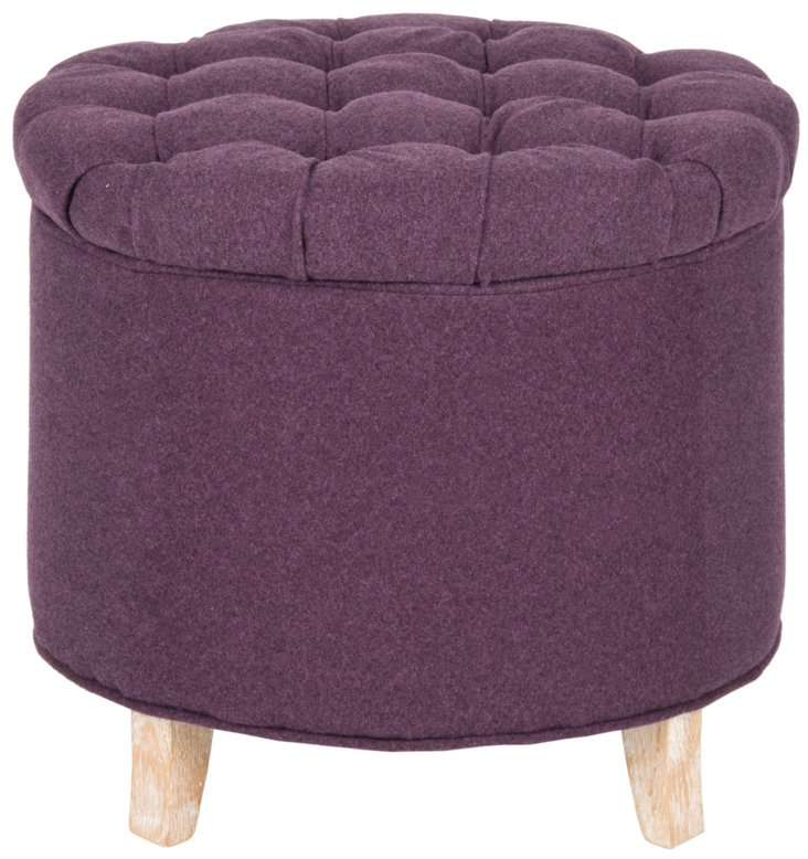 Arabella Tufted Storage Ottoman, Plum