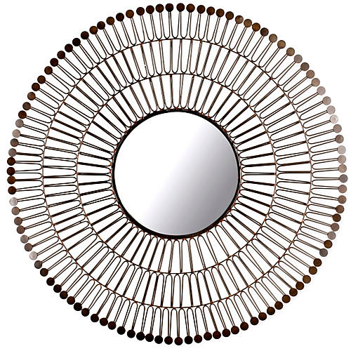 "Iron 31"" Sunburst Mirror, Bronze"