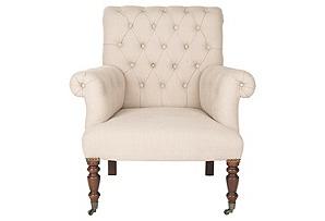 Avery Tufted Club Chair, Cream