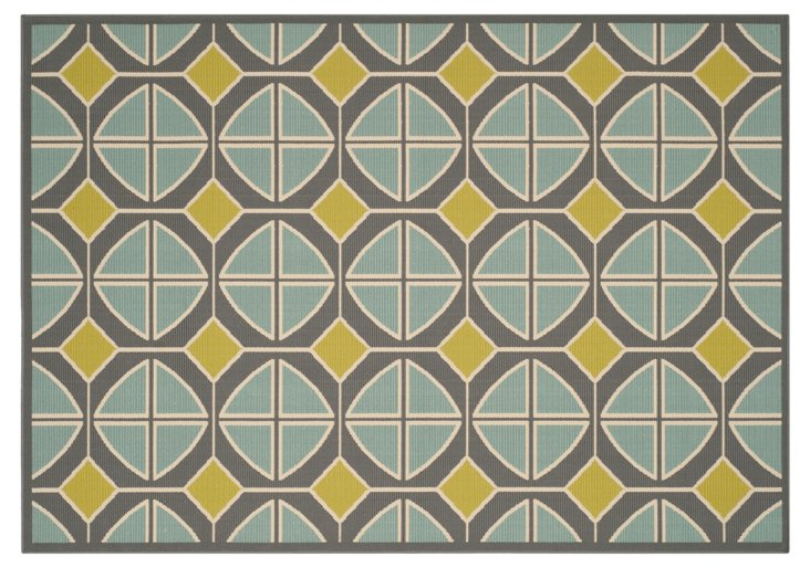 Ewan Outdoor Rug, Gray/Blue