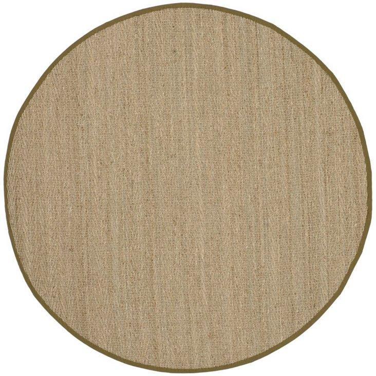 6' Round Cobain Sea Grass Rug, Olive