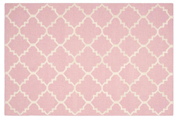 Delilah Dhurrie, Pink/Ivory