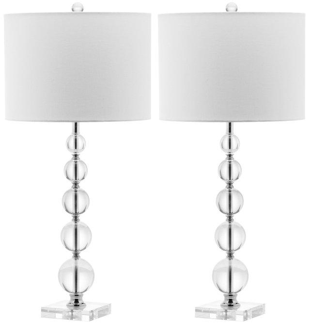 Leighton Stacked Lamp Set, Crystal