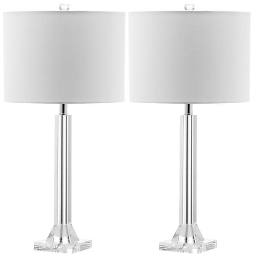 Frances Table Lamp Set, Crystal