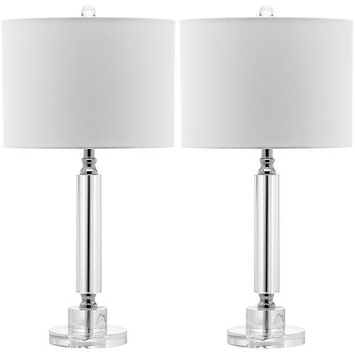 Don Table Lamp Set, Crystal/Chrome