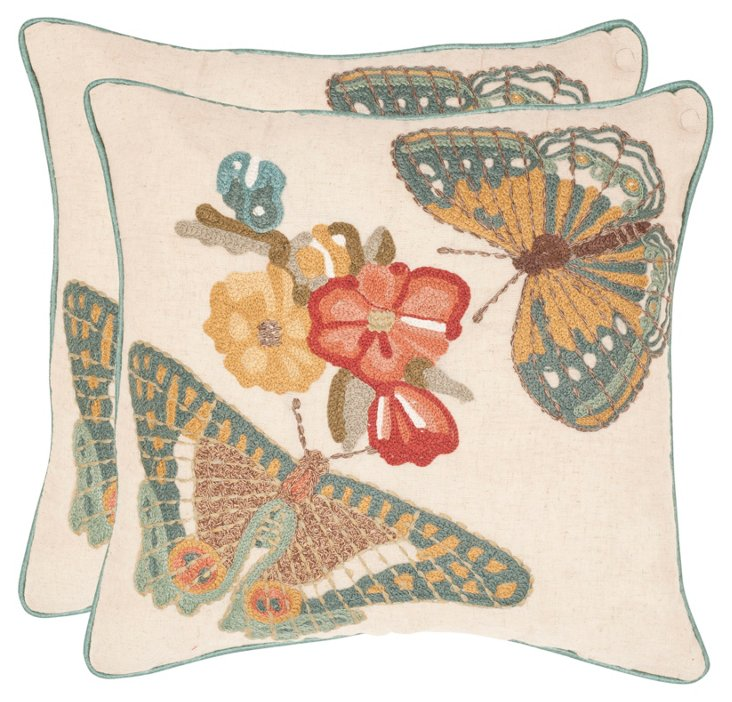 S/2 Kelsey 18x18 Cotton Pillows, Multi