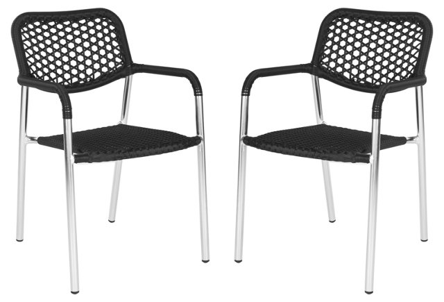 Black Gemma Stackable Armchairs, Pair