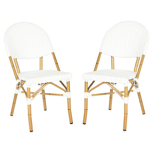White Rivoli Side Chairs, Pair