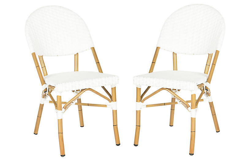 S/2 Rivoli Side Chairs, Off-White