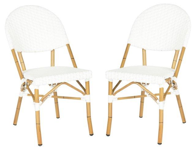 Outdoor White Rivoli Side Chairs, Pair