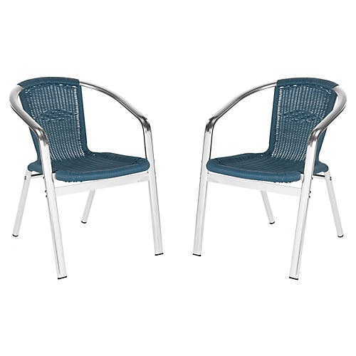 Teal Pantheon Stackable Armchairs, Pair