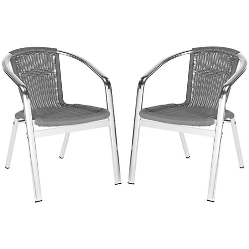 Gray Pantheon Stackable Armchairs, Pair