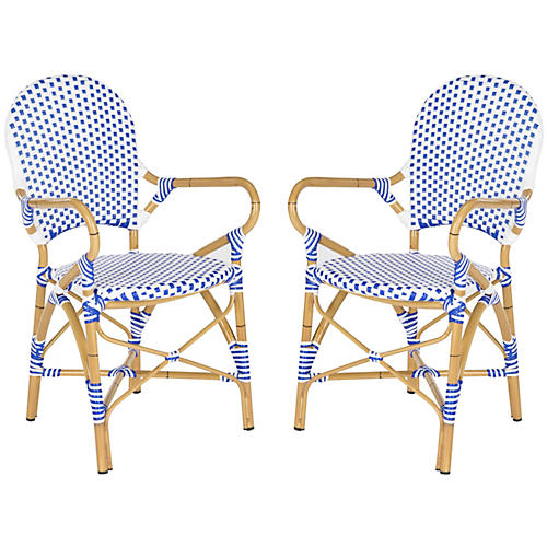 Blue Odeon Bistro Armchairs, Pair