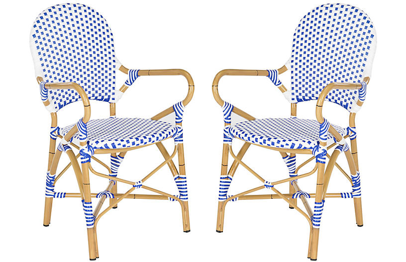 S/2 Odeon Bistro Armchair, Blue