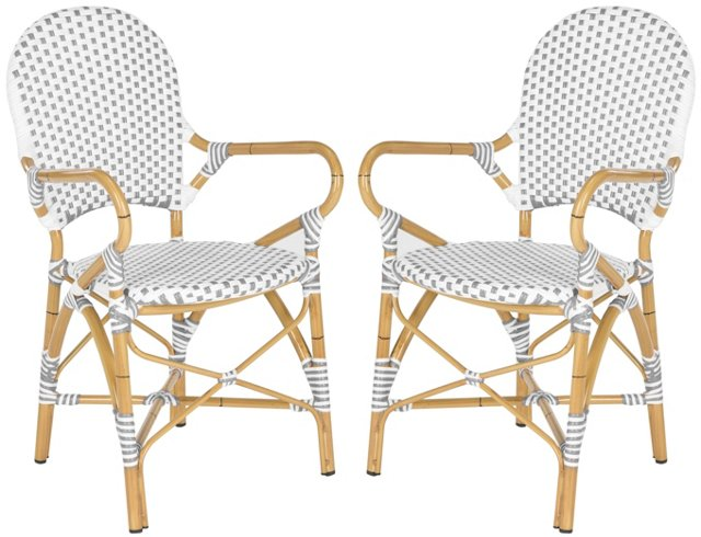 Gray Odeon Stackable Armchairs, Pair