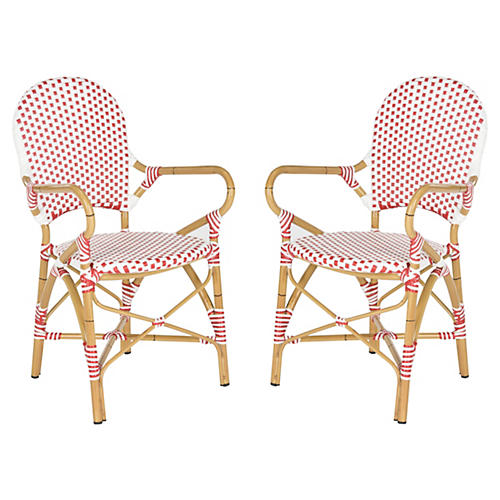 Red Odeon Bistro Armchairs, Pair