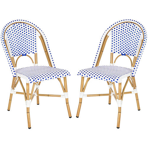 S/2 Odeon Stackable Bistro Side Chair, Blue