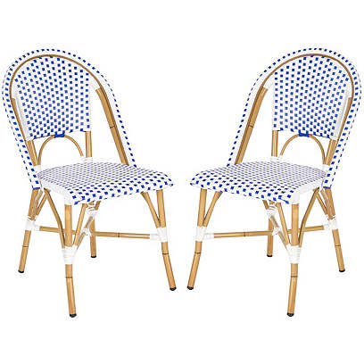 Blue Odeon Bistro Side Chairs, Pair
