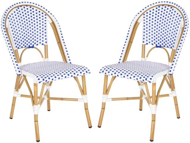 Blue Odeon Stackable Side Chairs, Pair
