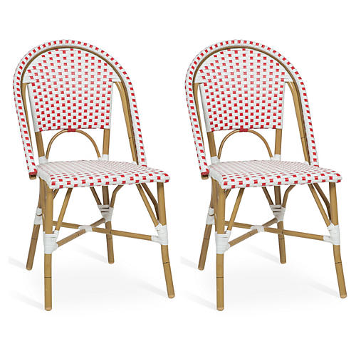 Red Odeon Bistro Side Chairs, Pair