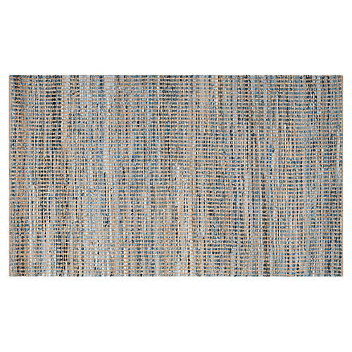 Chapin Jute Rug, Natural/Blue
