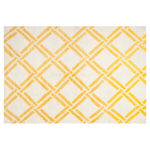 Bebe Hand-Knotted Rug, Gold/Ivory