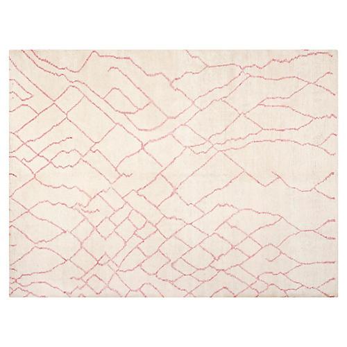 Jordi Hand-Knotted Rug, Ivory/Pink