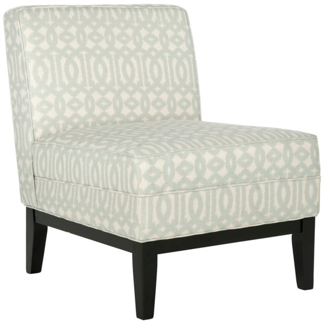 Avery Armless Chair, Gray/White Chevron