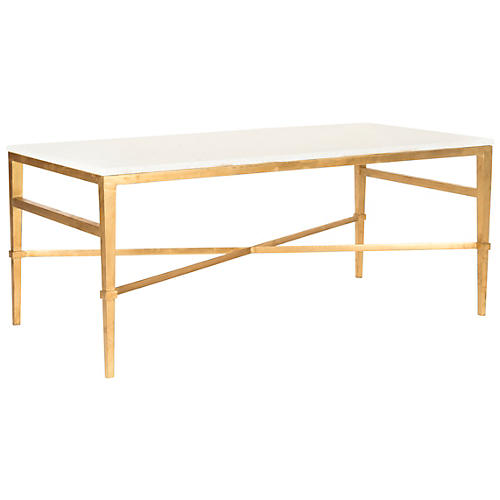 Abilene Coffee Table, White/Gold