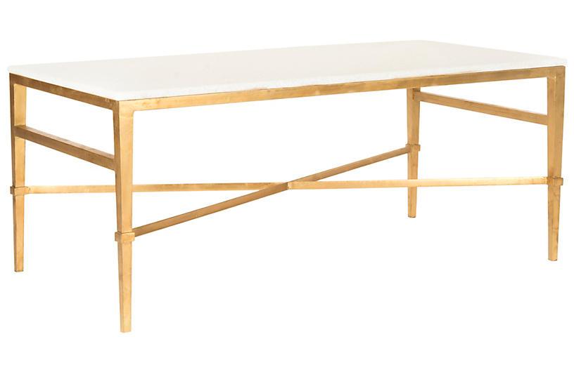 Abilene Coffee Table, White/Gold