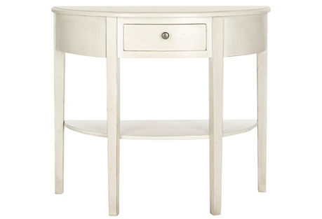 Abra 1-Drawer Console, Ivory