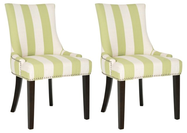 Green Lester Dining Chairs, Pair
