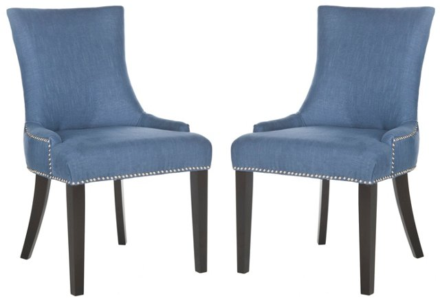 Denim Lester Dining Chairs, Pair