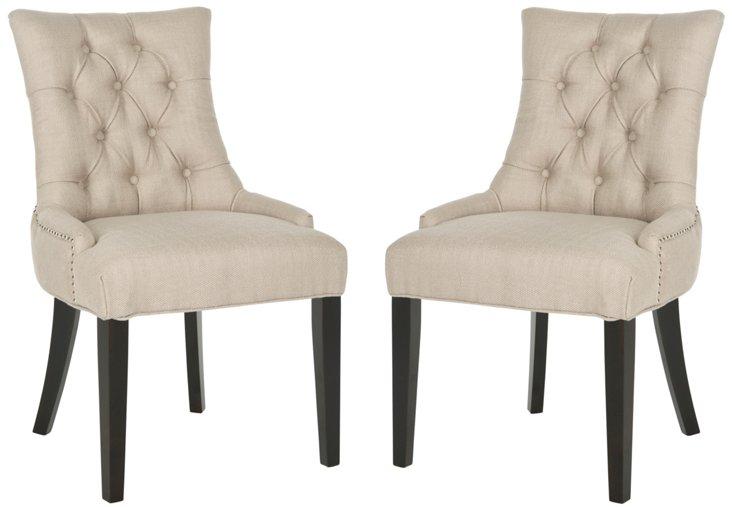 Camel Prescott Side Chairs, Pair