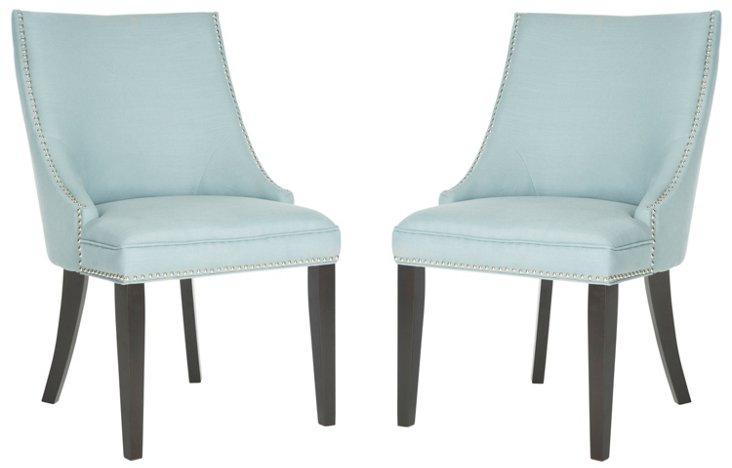 Robin's-Egg Blue Suki Side Chairs, Pair