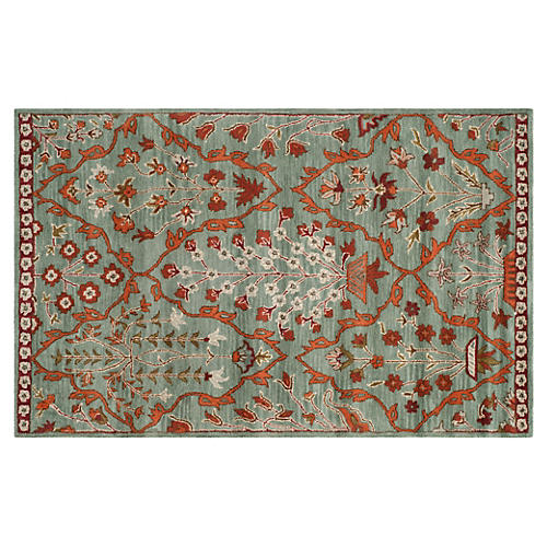 Brent Rug, Blue/Rust
