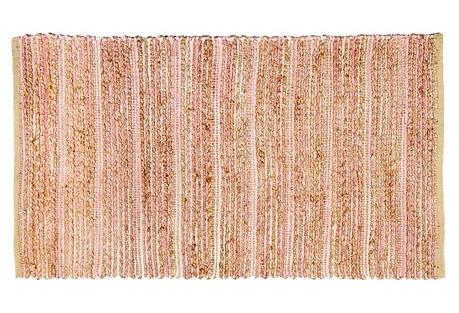 Braided Jute-Blend Rug, Light Pink