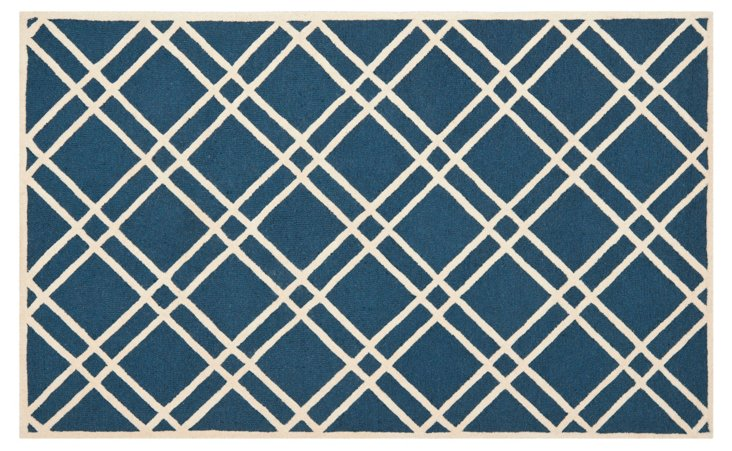 Alicia Rug, Navy Blue/Ivory