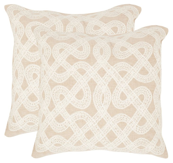 S/2 Lola Pillows, Beige