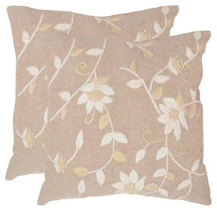 S/2 Vallie Pillows, Beige