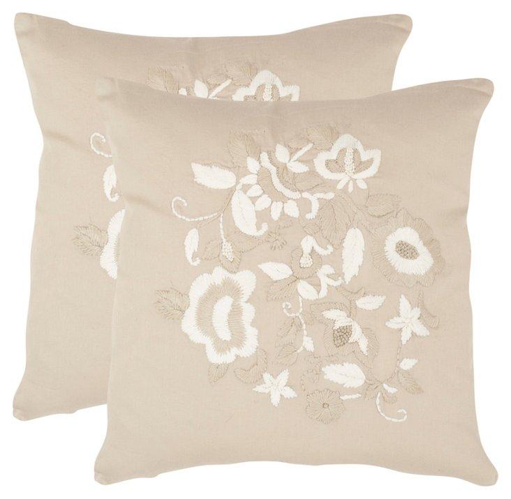S/2 April Pillows, Beige