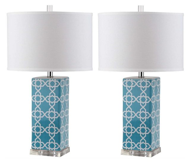 Payton Table Lamp Set, Light Blue