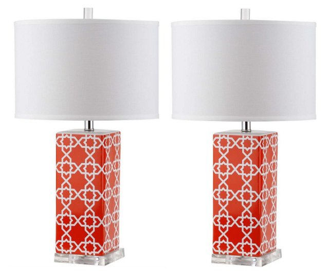 Payton Table Lamp Set, Orange