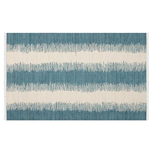 Uma Flat-Weave Rug, Teal/Ivory