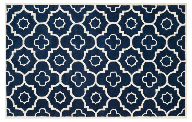 Gilly Rug, Dark Blue/Ivory